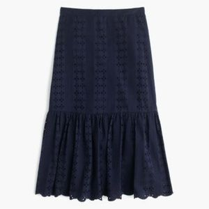 J. Crew blue eyelet tiered scalloped skirt sz 14